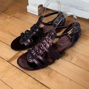 Enzo Angiolini Leather Gladiator Bronze Sandal